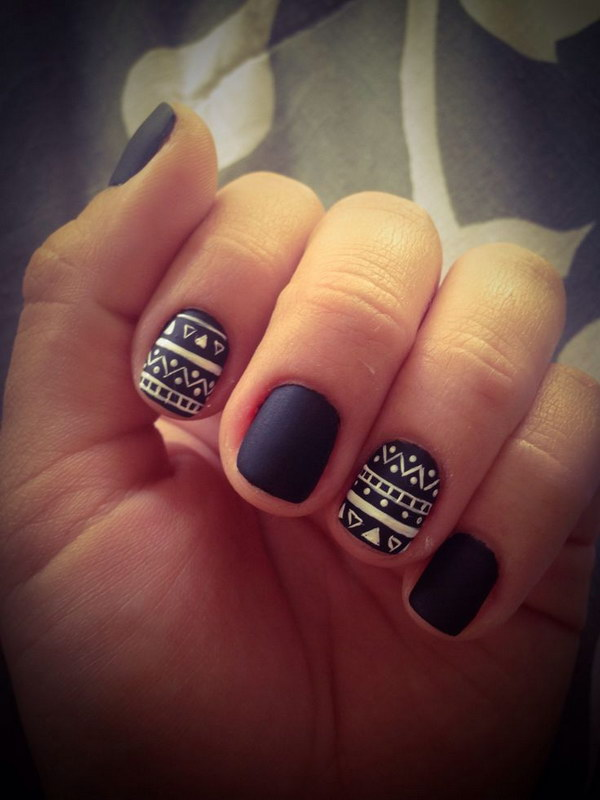 Black and  White Matte Tribal Nails