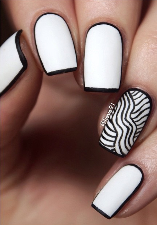 Beautiful Black and White Nail Art - 80+ Black And White Nail Designs