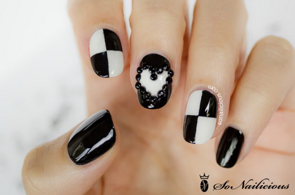 Black and White 3D Nails