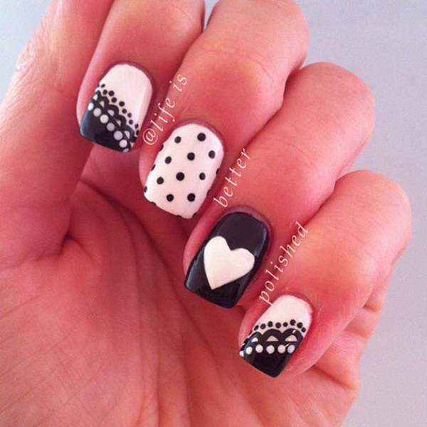 Cute Polka Dots with Heart Nails