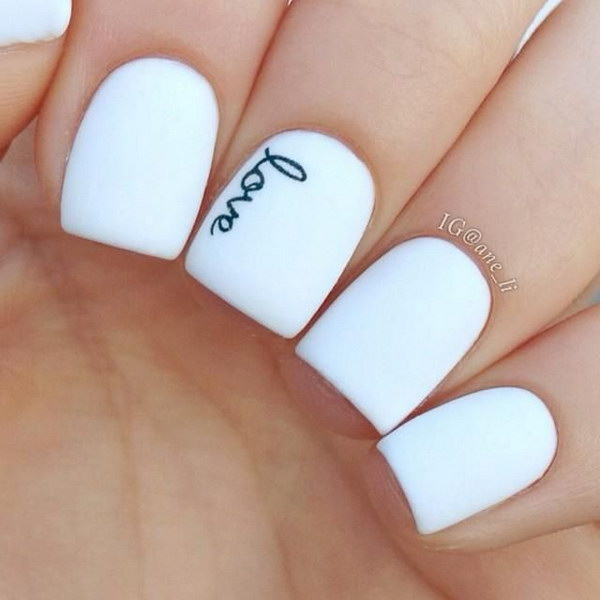 Black and White Handwrite Love Nails - 80+ Black And White Nail Designs
