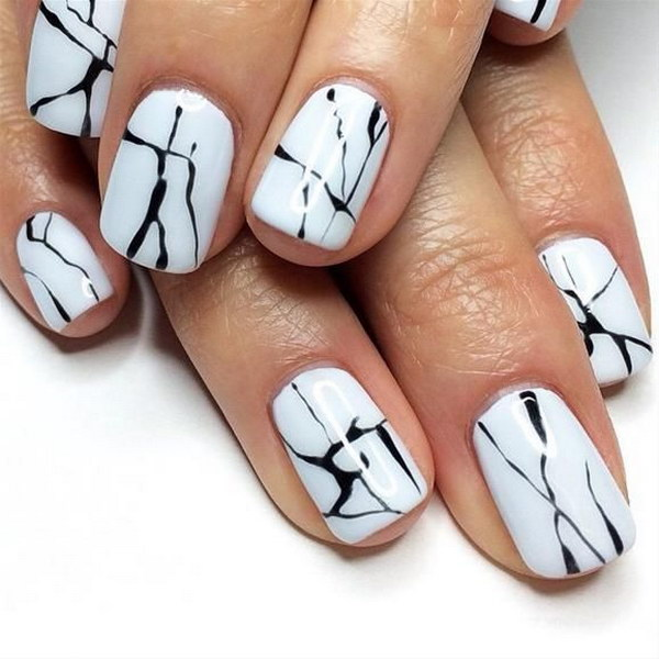 Simple Black and White Marble Nails