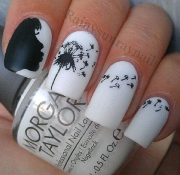 Black and White Dandelion Inspired Nail Art