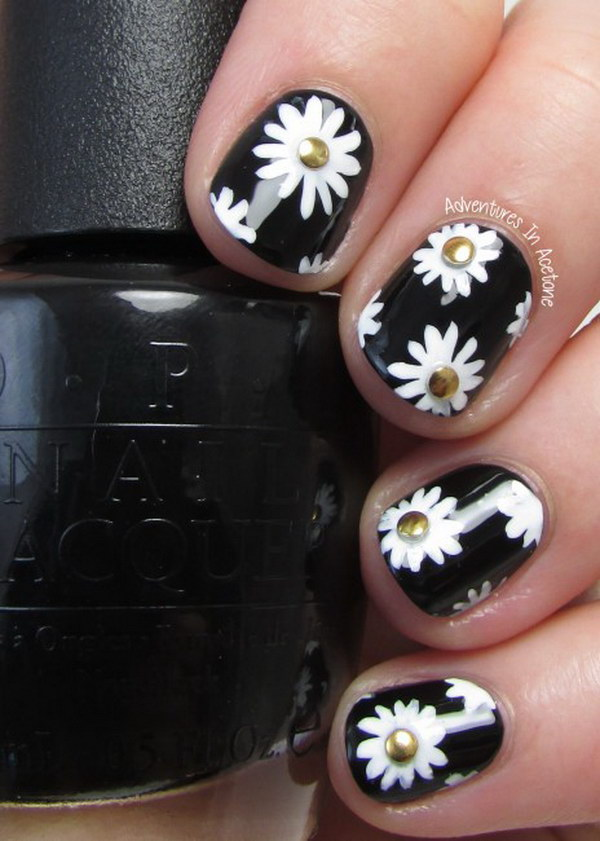 80 black and white nail designs beautiful black and white daisies prinsesfo Choice Image