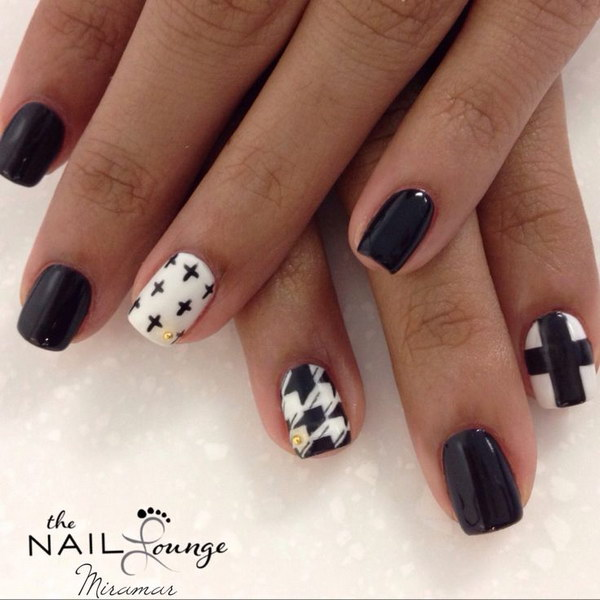 Cross and Houndstooth Gel Nail Art - 80+ Black And White Nail Designs