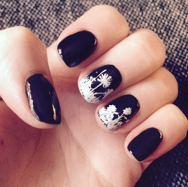 White Flowers on Black Nails