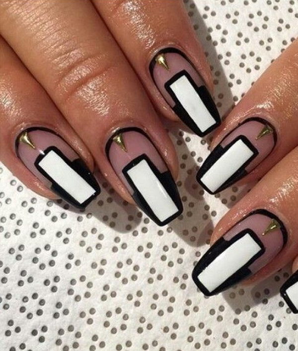 Cool Black and White Transparent Nails
