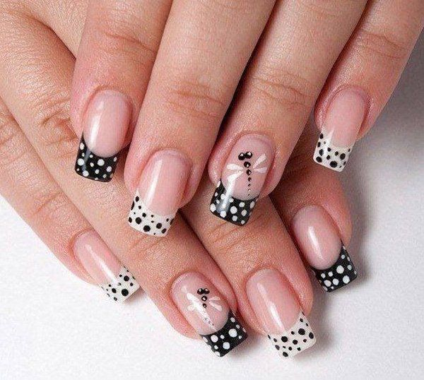 French Nails with Black and White Polka Dots and Dragonfly
