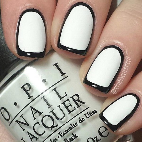 Black and White Borderline Nail Art