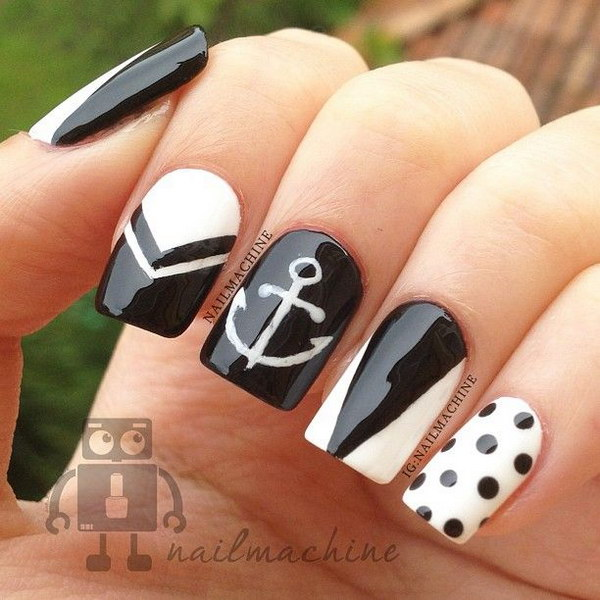 Polka Dots and Anchor Nail Art Design