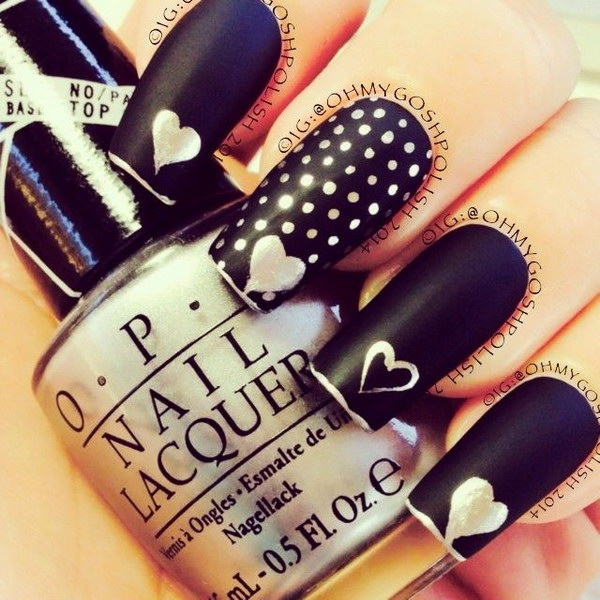 Matte Black with Polka Dots and Heart Nails