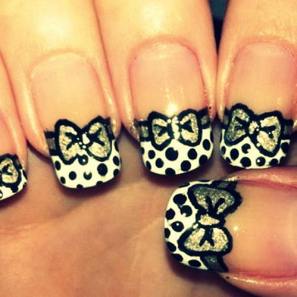 Elegant Polka Dots and Bows Short Nail Design