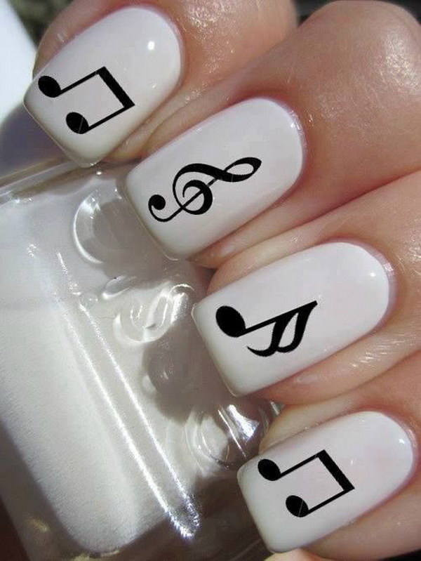 Music Note Black and White Nails