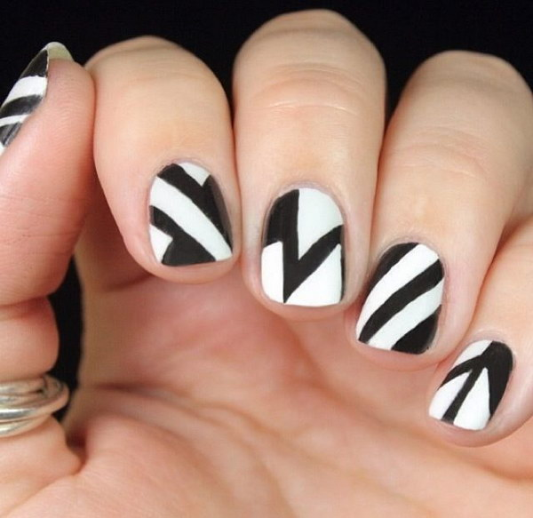 Easy Black and white Geometric Nails