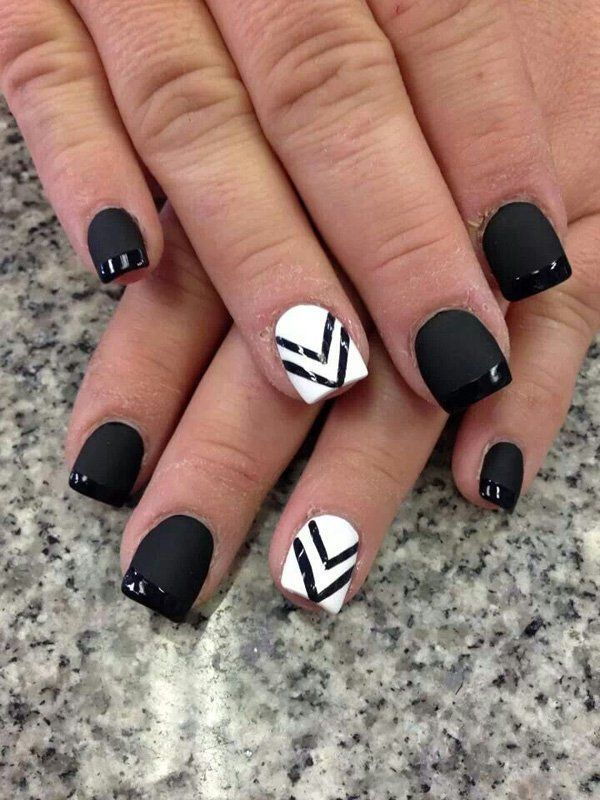 Matte Black Nail Polish Mixed with a White Nail Art Design - 80+ Black And White Nail Designs