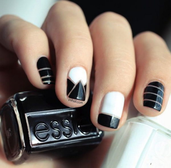 Black and White Negative Space Nail Design