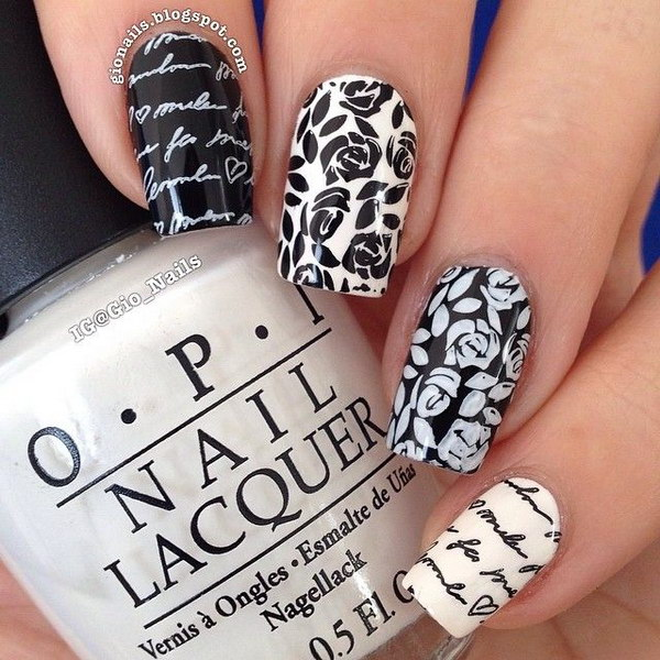 80 black and white nail designs rose and newspaper nail art design prinsesfo Choice Image