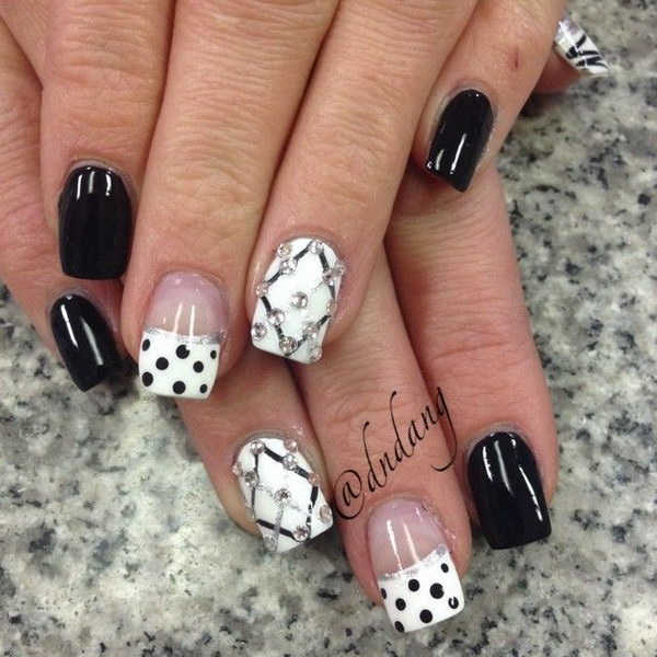 Polka Dots and Criss Cross Nail Design - 80+ Black And White Nail Designs