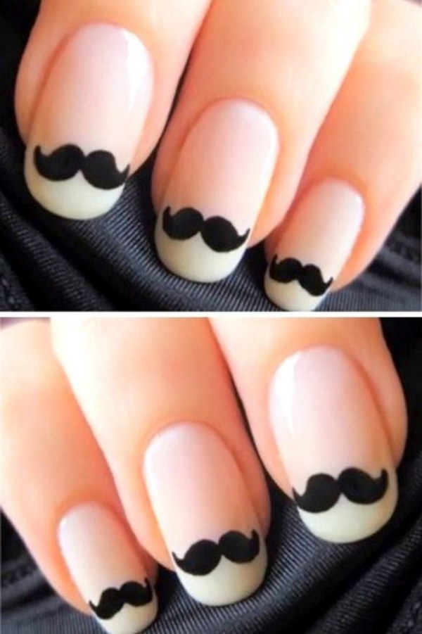 Funny Moustache Black and White Nail Art