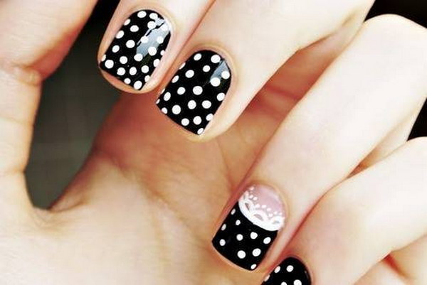Cute Polka Dots and Lace Nail Art Design