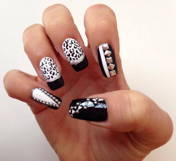 Black and White Leopard Nails Decorated by Studs