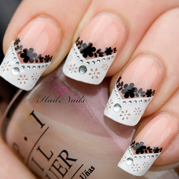 French Nail Art Tips Wrap Stickers Black Daisy Inc Crystals
