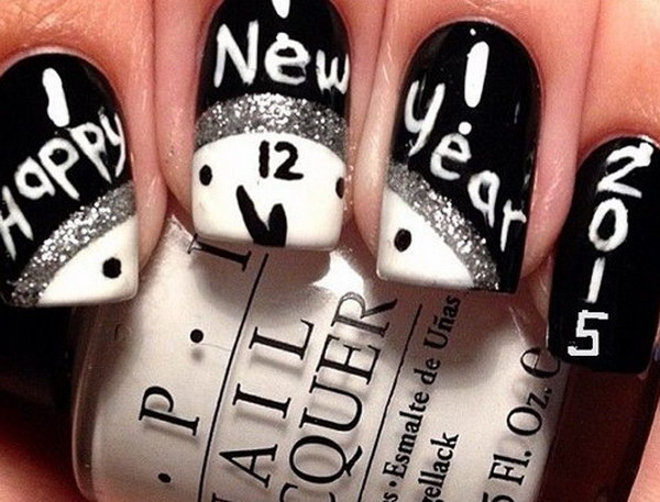 Black and White New Years Nails