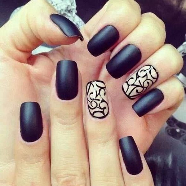 Matte Black Nails with White Accents on the Ring Finger