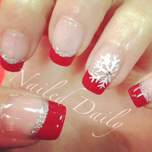 elegant red and silver french tips elegant red and silver french tips 1 christmas nail art designs - Christmas Nail Decorations
