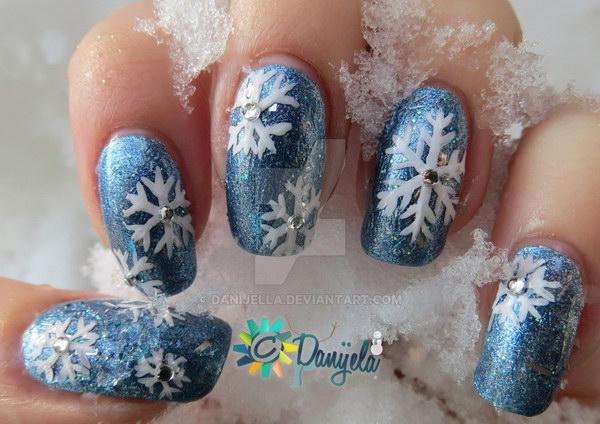 Blue Nails with White Snowflkes