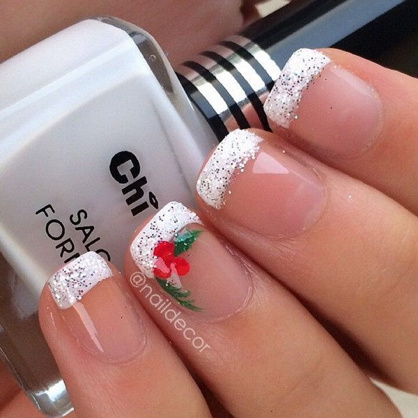 50 festive christmas nail art designs bowie news french tips with snowflake nail art prinsesfo Image collections