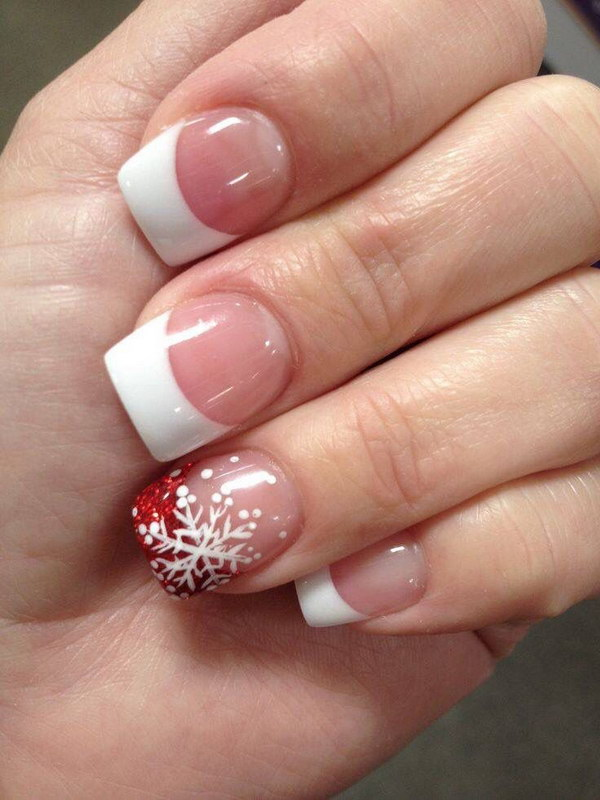 50 festive christmas nail art designs cute french tip snowflake nail art prinsesfo Image collections