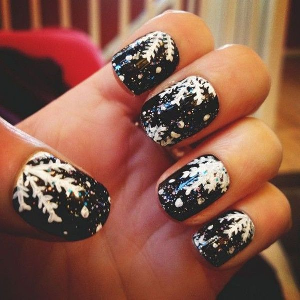 winter black nail art - Christmas Nail Decorations