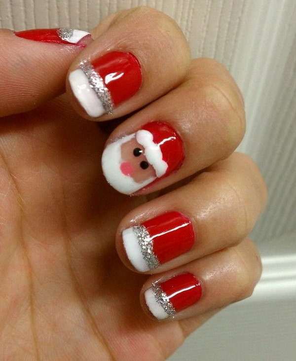 Cute Santa Christmas Nail Art