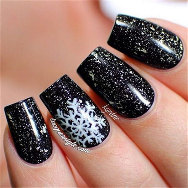 White Snowflakes On Glitter Black Backgound Christmas Nails