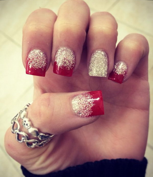 26 Red And Silver Glitter Nail Art Designs Ideas: 50 Festive Christmas Nail Art Designs