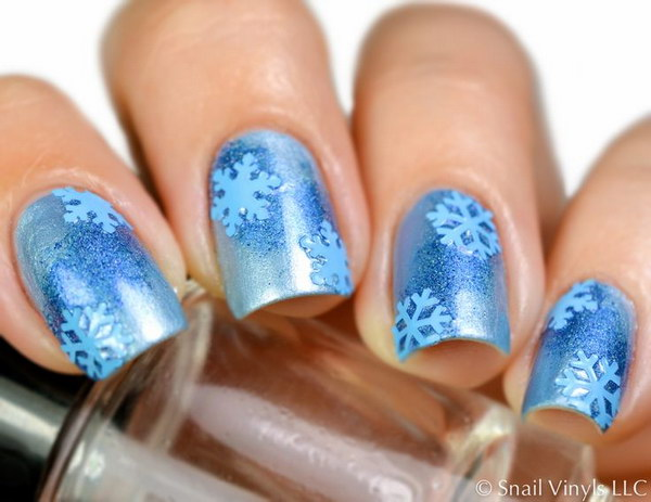 Blue Snowflake Nail Decal