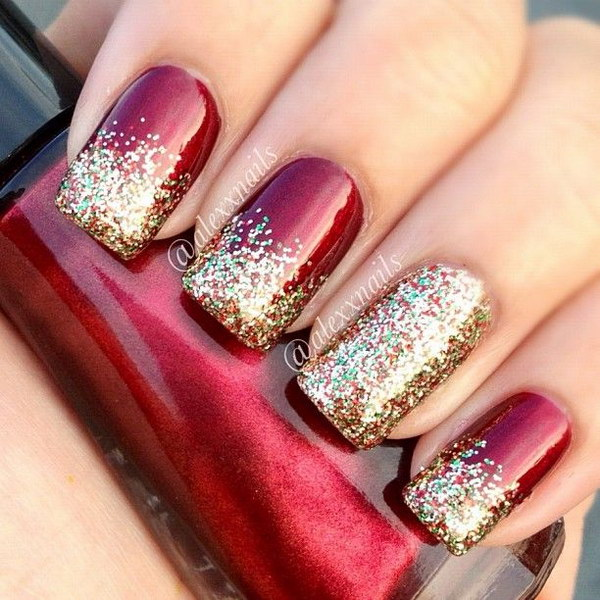 Red Glitter Christmas Nail Art.