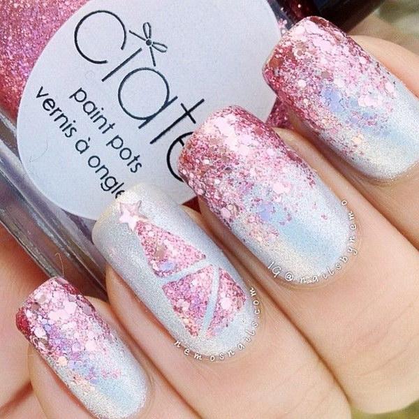 Pink Glitter Christmas Nail Art