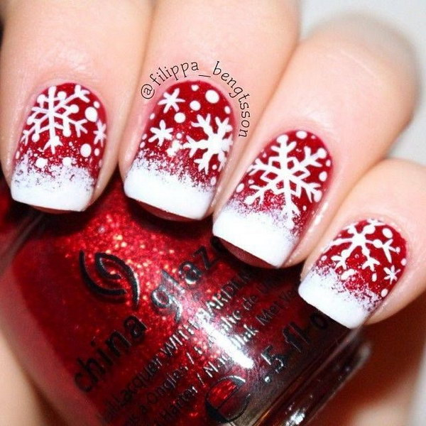 Cute Snow in Christmas Nails - 50 Festive Christmas Nail Art Designs – Bowie News