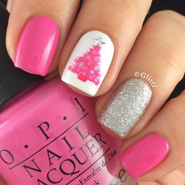 Silver and Pink Glittery Christmas Tree Nails
