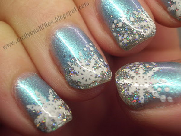 White Snowflakes on Light Blue Nails