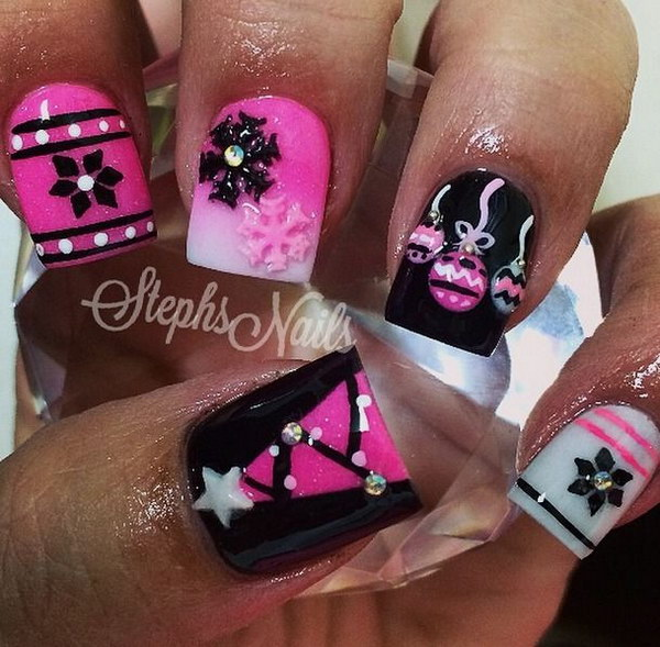 Pink White and Black Festive Nails
