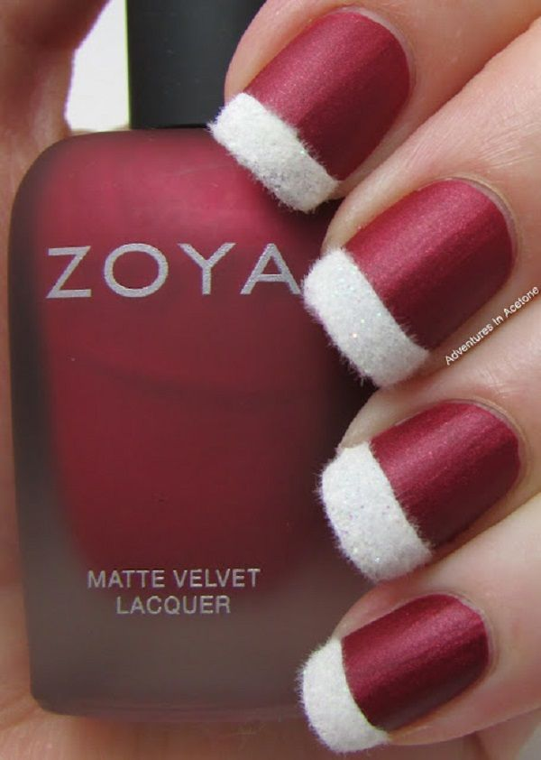 Matte Red Background with Fur Embellishment Tips Christmas Nails