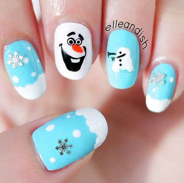 Blue and White Snowman Nails