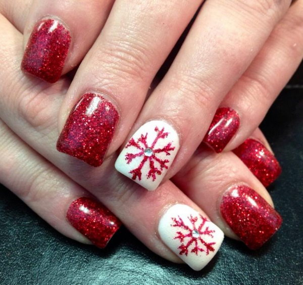 Red and White Festive Acrylic Nails