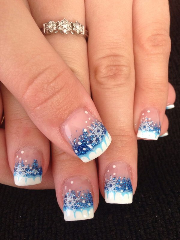 snowflake winter gel nail art - Christmas Nail Decorations