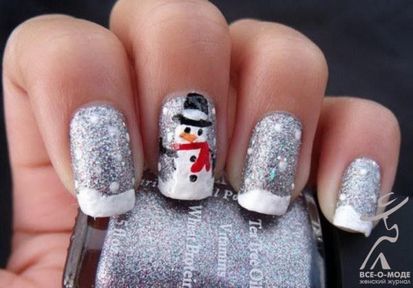 Glittery Silver Snowman Nail Art
