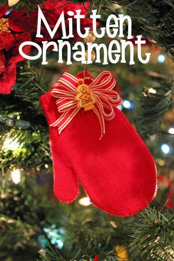 DIY Mitten Ornaments for Christmas.