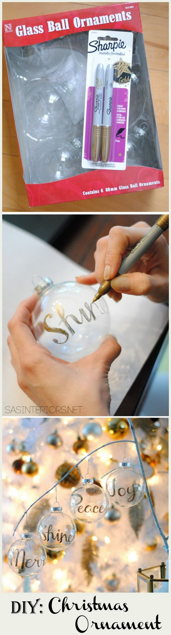DIY Personalized Word Christmas Ornament.